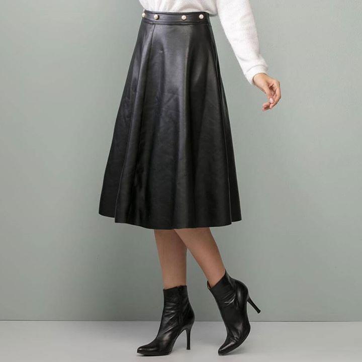 Leatherette midi φούστα!