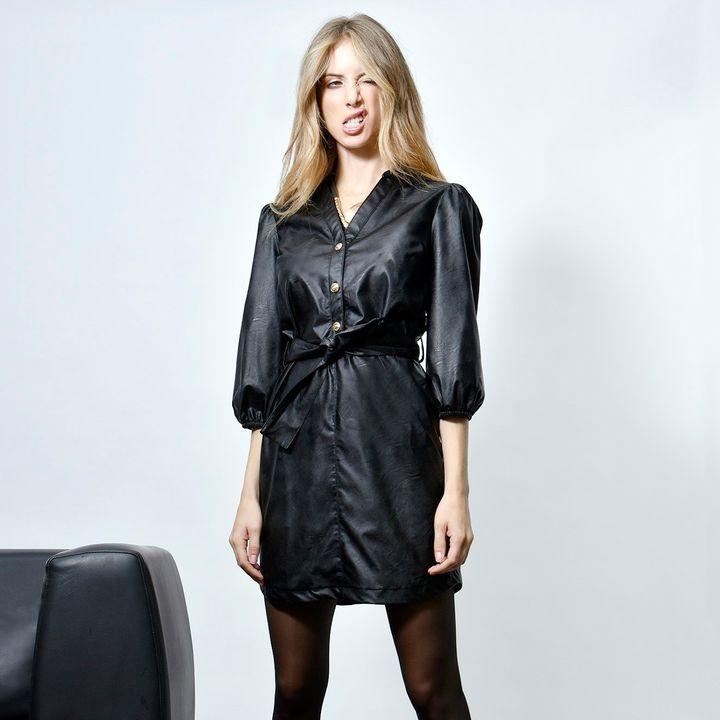 Leatherette mini φόρεμα!