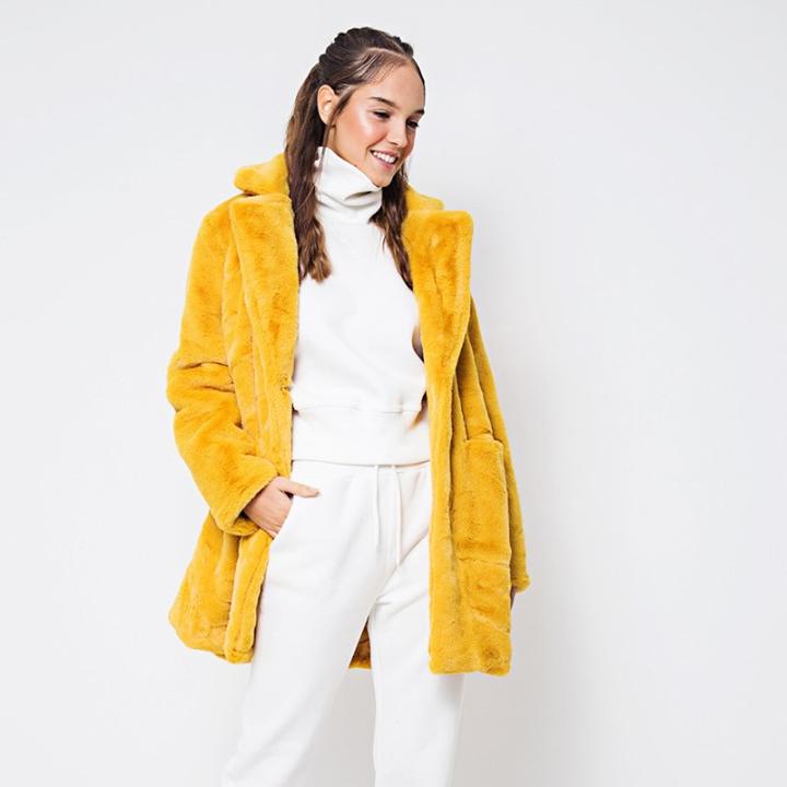 Κίτρινη faux γούνα!