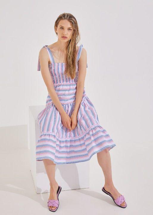 Ριγέ midi φόρεμα!
