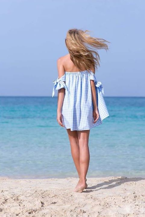 Strapless καρό φόρεμα!