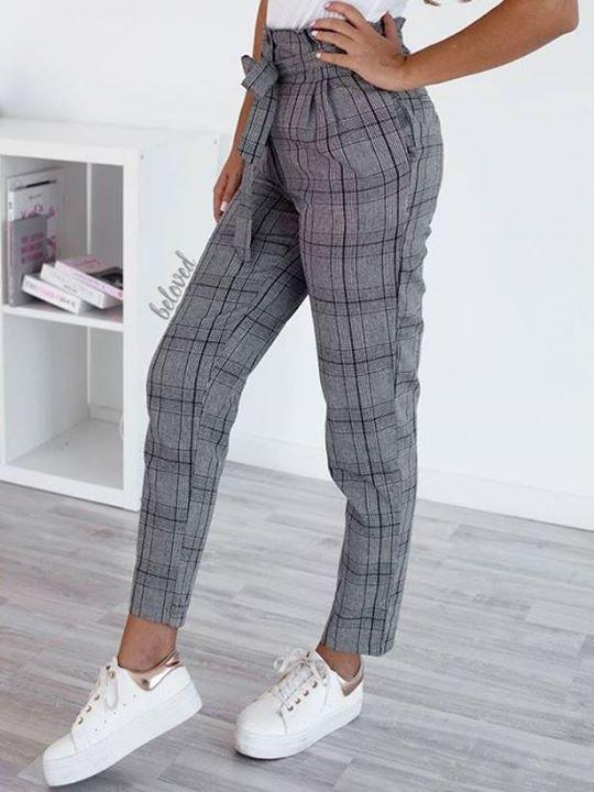 a61a5304c9db Ψηλόμεσο καρό παντελόνι!
