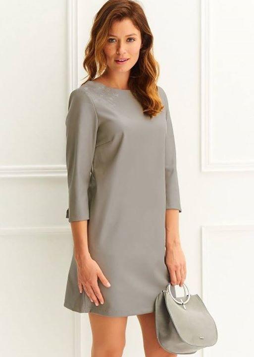Γκρι leatherette φόρεμα!